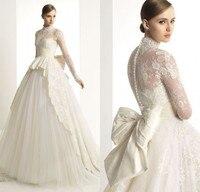 Angel Tree Wedding Dress 2018 Bridal Long Sleeves High Collar Bride Gowns Luxury Vestido De Noiva