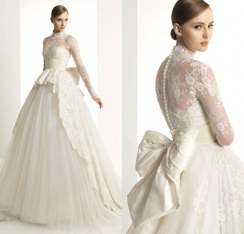 Angel Tree Wedding Dress 2018 Bridal Long Sleeves High Collar Bride Gowns Luxury Vestido de noiva Zuma Designed Dresses