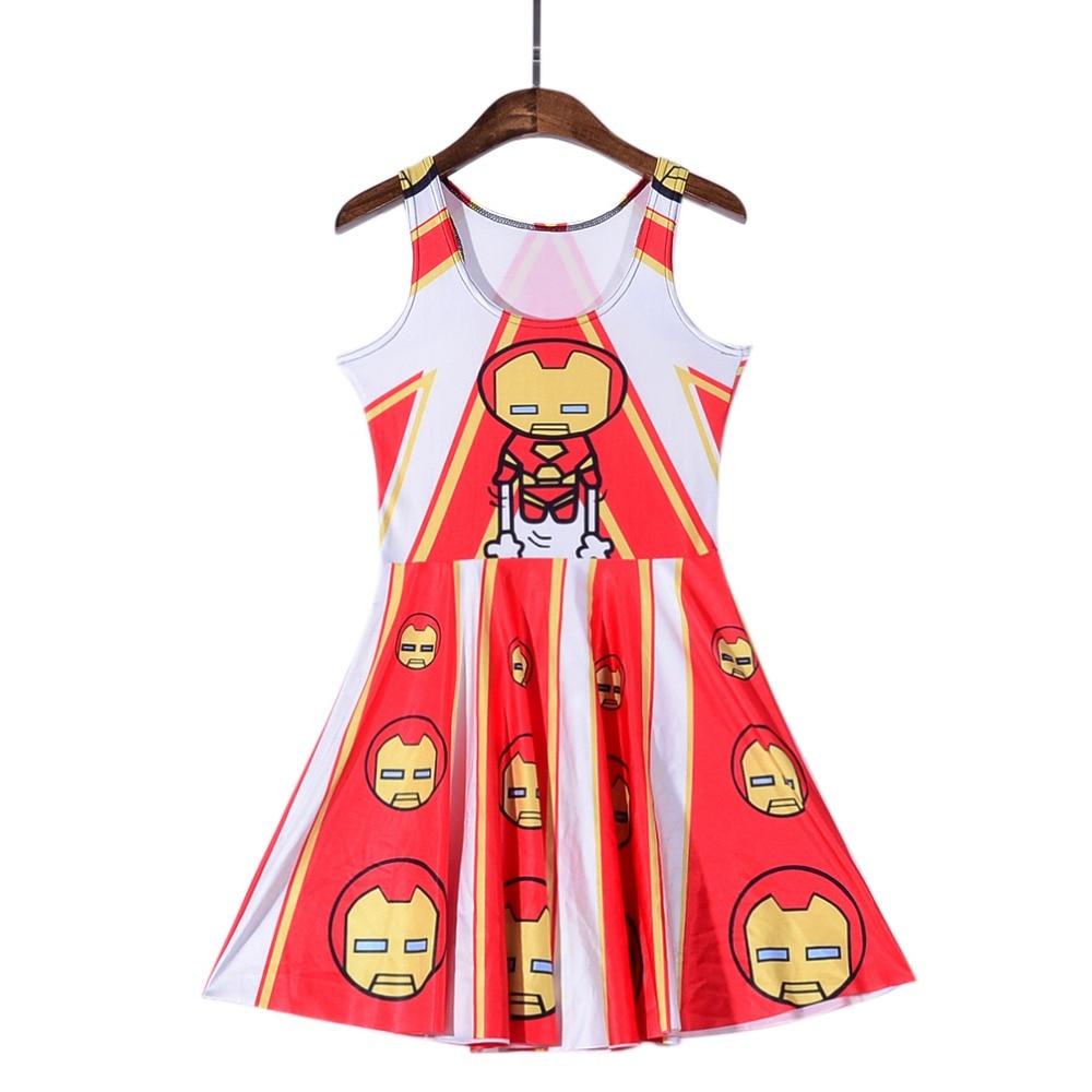 NEW Black Milk 1161 Sexy Girl Women Summer Comics Avengers cartoon Iron Man 3D Prints Reversible Sleeveless Skater Pleated Dress
