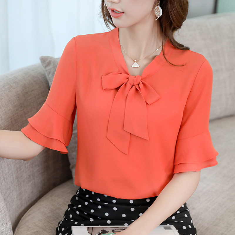 Womens Tops Bow Tie Neck Summer Chiffon   Blouse   Short Ruffles Sleeve Office Work   Shirts   Female 2019 Elegant Pink White Tops Blusa