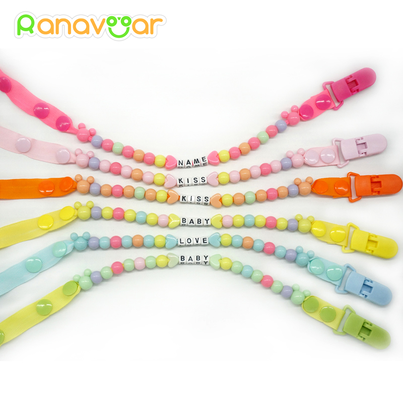 Personlig-Enhver Navn Pacifier Klipp Gave Dummy Håndlaget Pacifier Chain Holder Baby Nipple Feeding Supplies Kid Garment Clip