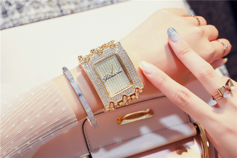 de Prata Luxo Strass Senhoras Pulseira Relógio