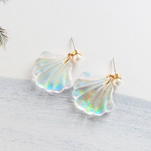 Romantic Resin Colorful Mermaid Rainbow Pearl Shell 1Pair Sale Free Shipping Allergy Free Graceful Unique(China)