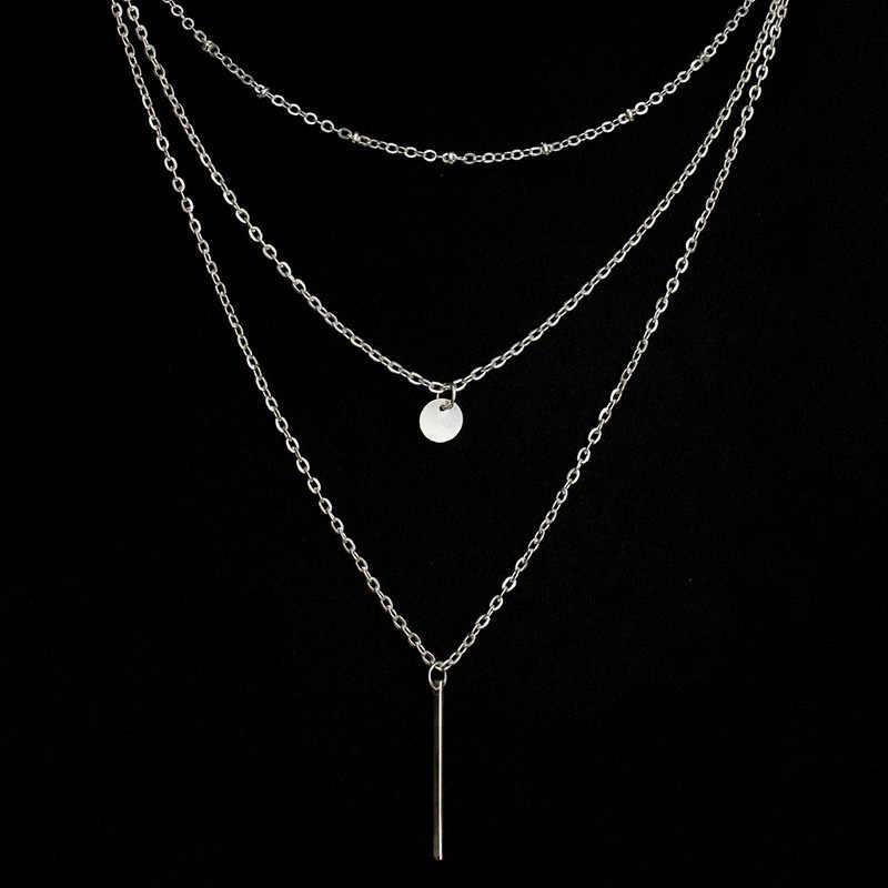 Colares & pingentes multicamadas para as mulheres cor de prata ouro longo corrente feminina pingente colar moda jóias collier femme