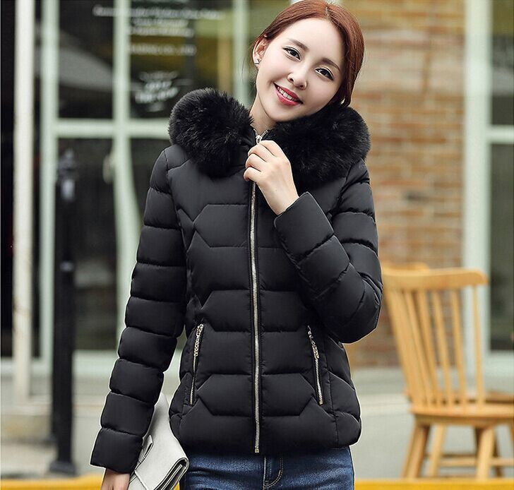Mozhini Winter Jacket Women Cotton Short Jacket Girl Padded Slim Hooded Warm Parkas fake fur Collar Coat Female Autumn Outwear chic scoop neck rabbit print loose fitting t shirt for women