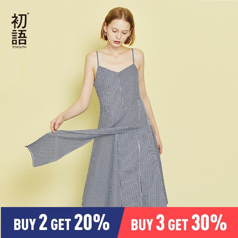 Toyouth Plaid Printed Short Mini Dress Women 2019 Summer Sleeveless Ruffles Irregular Strap Dress Red Black Boho Beach Sundress-in Dresses from Women's Clothing    1