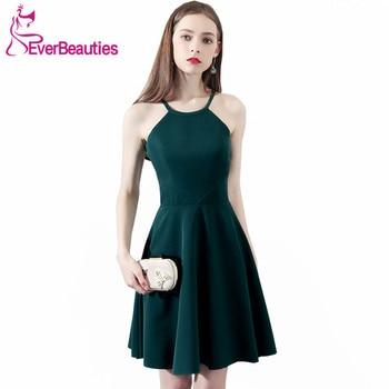 afe754e95ce8c33 Короткие коктейльные платья 2019 по колено платье зеленого цвета для Для  женщин Выходные туфли на выпускной Платья для вечеринок платье для в.