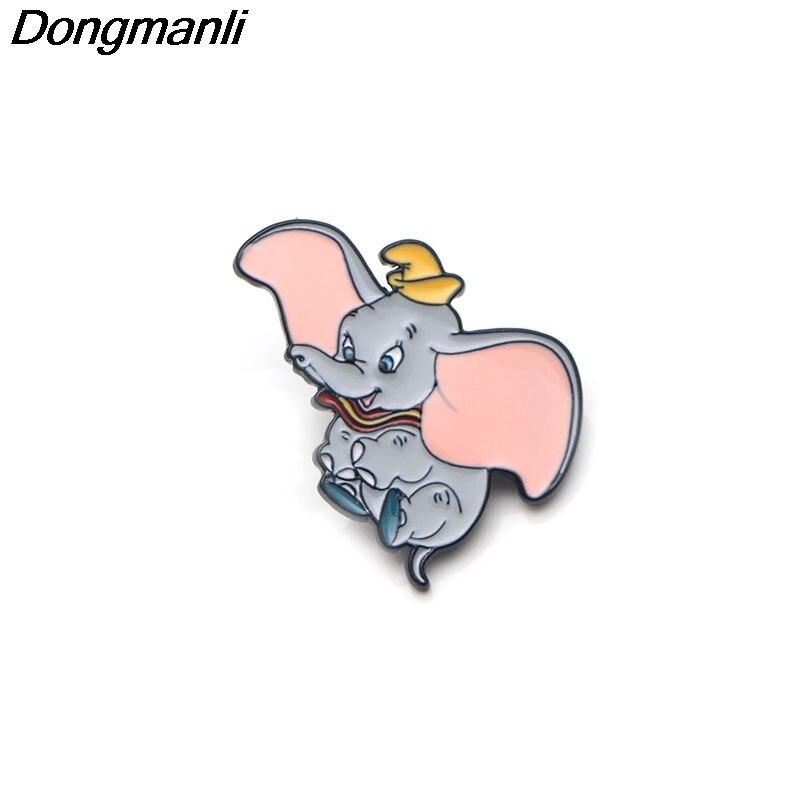 P2857 Dongmanli gros 20 pcs/lot Dumbo métal émail broches et broches pour femmes hommes épinglette sac à dos sacs badge enfants cadeaux-in Broches from Bijoux et Accessoires    1