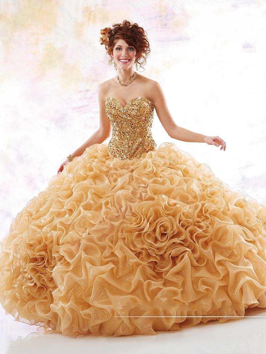 670d6e8fea5 Hot Gold Quinceanera Dresses 2017 Ball Gown Beaded Crstals Organza Flowers  Sweet 16 Dress Vestidos De 15 Anos Vestido de Festa-in Quinceanera Dresses  from ...