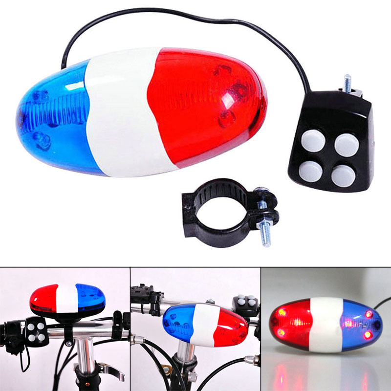 Bike Bicycle Lamp 6 Flashing LED 4 Sounds Police Siren  Horn Bell Bike Rear Light waterproof Safety Warning Light FI-19ING