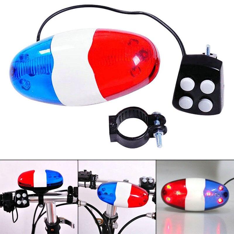 Лампа велосипедная велосипед 6 мигающий светодиод 4 звуков полицейская сирена Рог колокольчик велосипед задний свет водонепроницаемый пре...