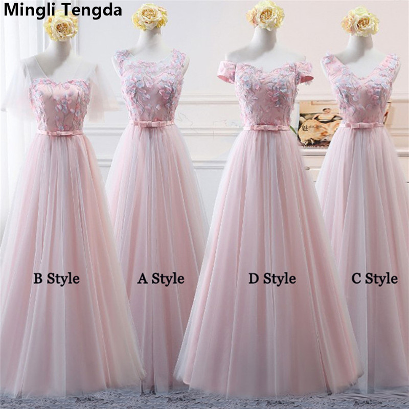 2018 New Pink Boat Neck   Bridesmaid     Dress   Off the Shoulder Appliques   Bridesmaid     Dresses   robe demoiselle d'honneur Mingli Tengda