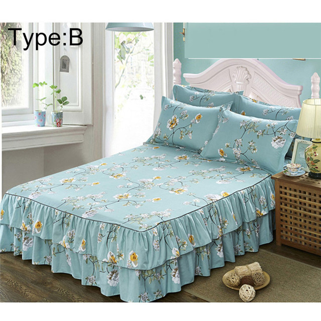 150x200cm Queen Size Bed Skirt Polyester European Pastoral