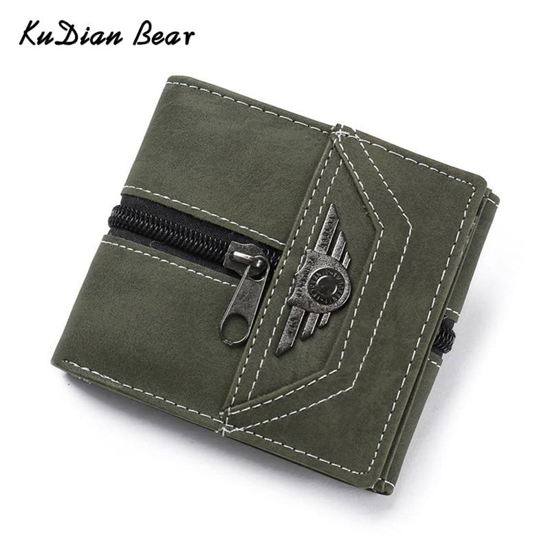 KUDIAN BEAR bőr pénztárca férfiak tervező kis pénztárca vékony Rfid hitelkártya tartó Carteira Masculina-- BID175 PM49