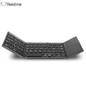 Image 1 - Mini Tragbare Zweimal Folding Bluetooth Tastatur BT Drahtlose Faltbare Touchpad Tastatur für IOS/Android/Windows ipad Tablet