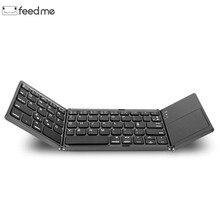 Mini przenośny dwa razy składana klawiatura Bluetooth BT bezprzewodowy składany panel dotykowy klawiatura dla IOS/Android/Windows ipad Tablet