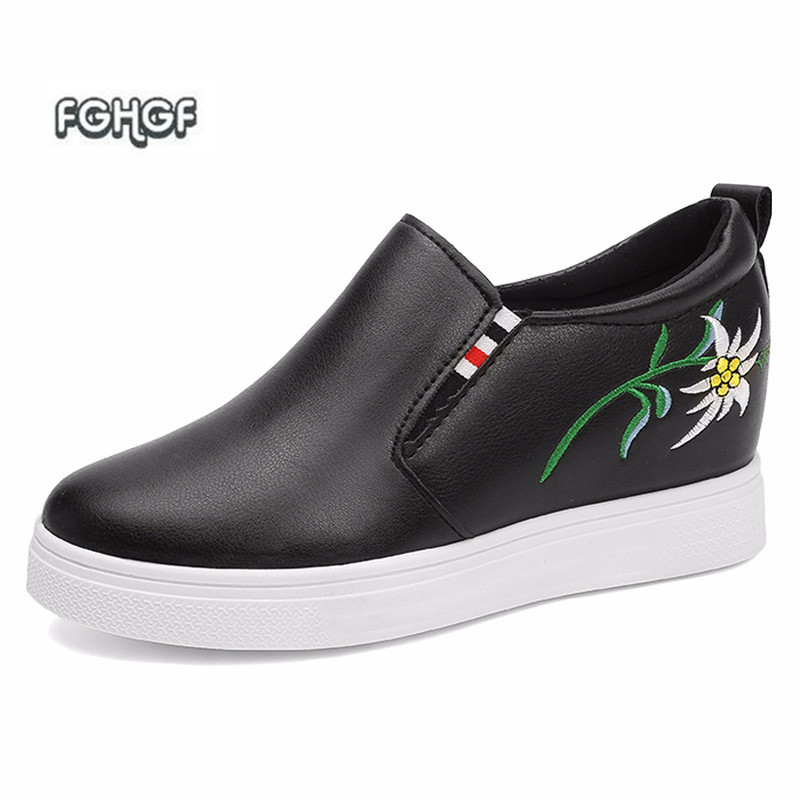 White Sneakers Women Shoes Woman Loafers Women Black Elevator Embroidery Shoes Women Espadrilles Mocasines Creepers Tenis Tufli