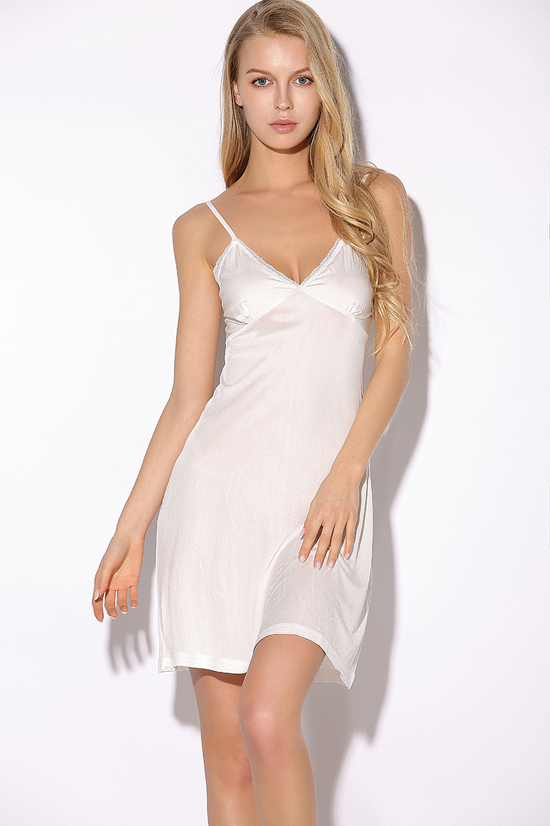 Summer Fashion V-neck New Women Woman Lace Lady Girl Soft Silk Dress Full Slip Night Skirt with chest pad YH101
