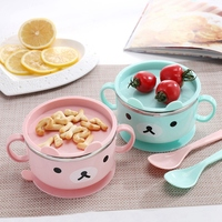 Baby Feeding Suction With Lid Spill Proof Stay Put Anti scald Stainless Steel Kids Insulation Bowls Spoon Set