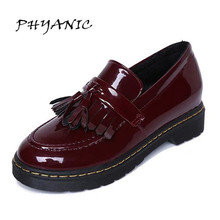 PHYANIC Patent Leather Oxfords Shoes Spring Vintage Tassel Platform Brogue Shoes Woman British Style Slip On Flats