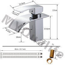 Free Shipping Wholesale And Retail Deck Mount Waterfall Bathroom Faucet Vanity Vessel Sinks Mixer Tap Cold And Hot Water Tap