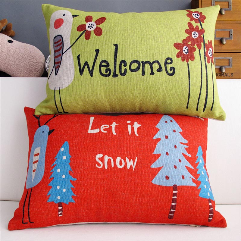 Pastoral Christmas Cartoon Bird Let It Snow Tree Lumbar Pillow Case Couple Cushion Cover Car Sofa Cushion Cover Capa De Almofada