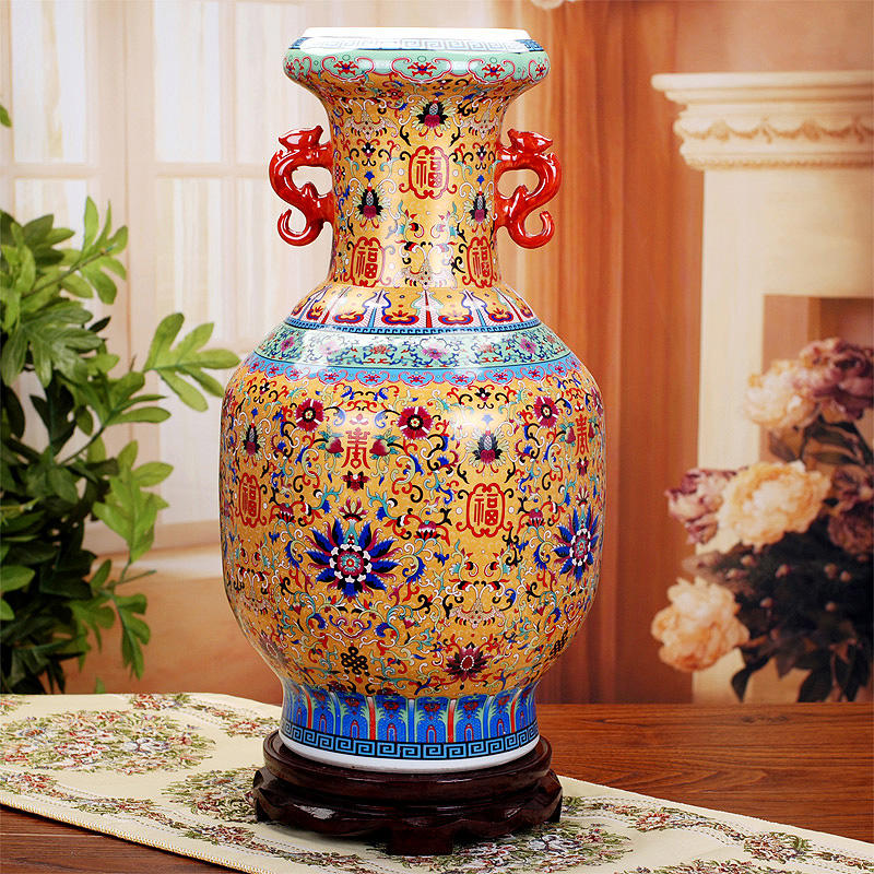 Antique Wedding Gifts: Antique Jingdezhen Ceramic Vase Enamel Porcelain Flower