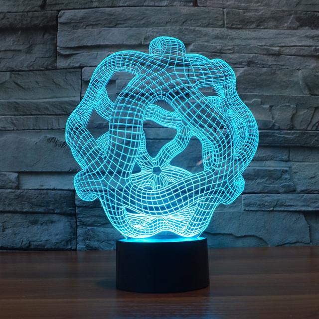 Increíble 3D Luz Resplandor de la Noche, Powered USB de la Ilusión Óptica de Iluminación LED con 7 Colores Que Cambian de Alquiler