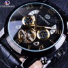 Forsining Tourbillion Fashion Wave Black Golden Clock Multi Function Display Mens Automatic Mechanical Watches Top Brand