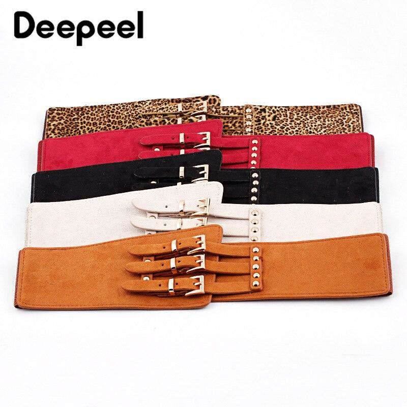 Deepeel 1pc 75X11cm Fashion Women's Cummerbunds Suede PU Elastic Stretch Wide Belt Wild Blouse Jeans Decoration CB023