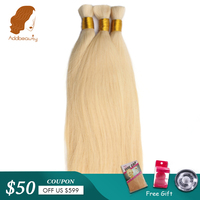 Addbeauty Bulk Human Hair For Braiding 1 Bundle Free Shipping Blonde 613 Natural Color Brazilian Straight Virgin Hair Extensions