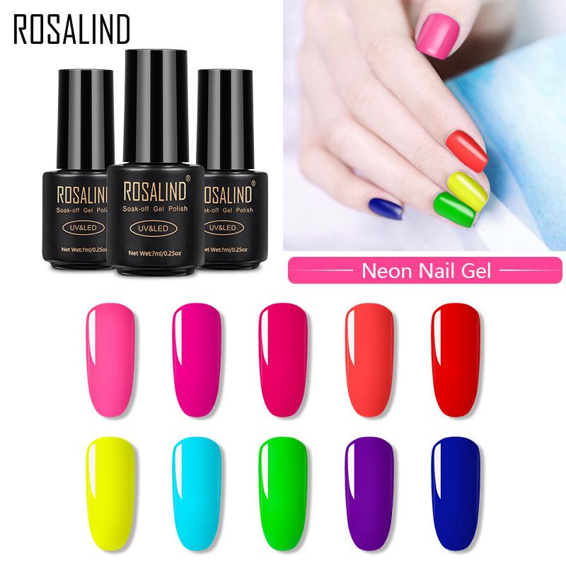 ROSALIND гель лак для ногтей неоновый цвет дизайн ногтей Vernis Полупостоянный УФ все для маникюра гель для ногтей лак Гибридный лак