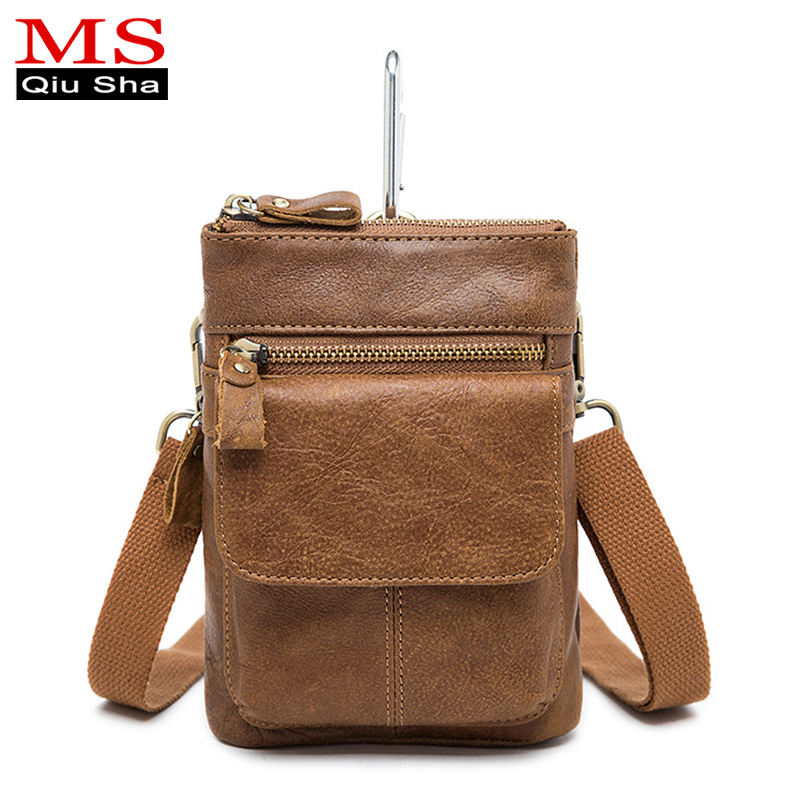 MS QIUSHA Small Handy Male Pouch Belt Purse Bag Genuine Leather Men Waist Bag Phone Bum