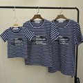 Family Look Matching Clothing Outfits Tops Short-sleeve Navy Striped T-shirt Clothes Tee For Mother Daughter And Father Son Kids