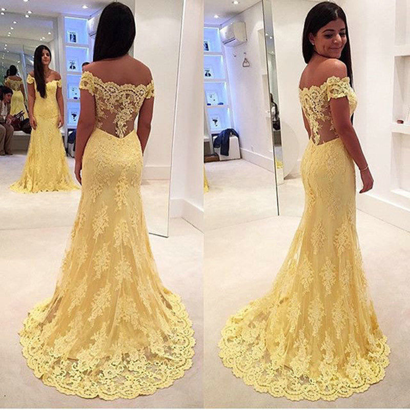 Sexy Off The Shoulder 2019 Lace   Evening     Dresses   With Short Sleeve Elegant Yellow Lace Mermaid   Evening     Dress   Long Formal   Dress