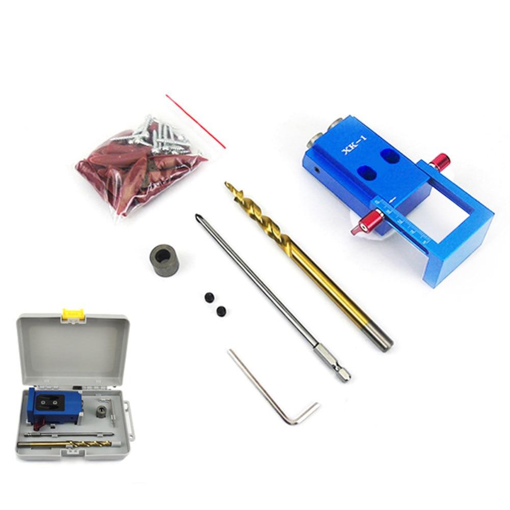 1Set New Drill Bit Accessories Mini Kreg Style Pocket Hole Jig Kit System Woodworking Joinery Step Wood Job Tool Set With Box