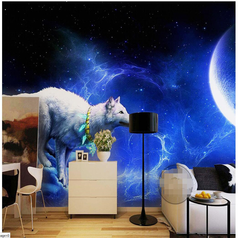 Wall Panel Wallpaper White Wolf Moon Star Photography Background Europe Art Mural for Living Room Large Painting Home Decor