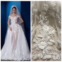 Hot popular black/off whit chiffon 3d flower with sequins on tulle lace fabric stage performance/evening dress lace fabric 1yard