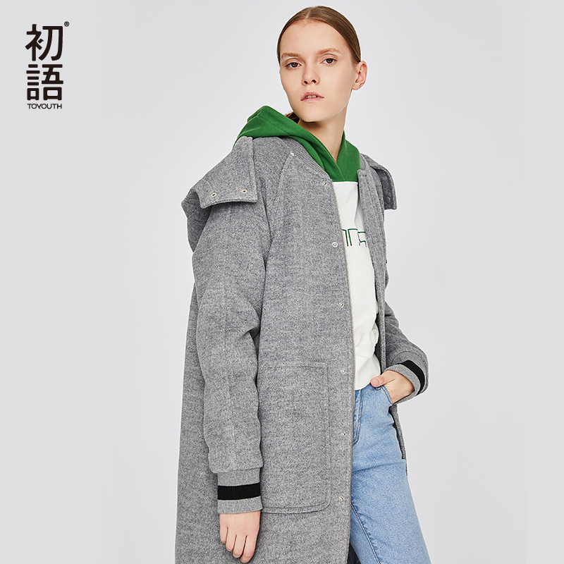 Image 2 - Toyouth Black Womens Wool Coats Long Sleeve Solid Coat Loose  Casual Trench Hooded Coat Abrigos Mujer Invierno Female OutwearWool
