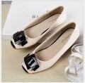 Пряжка Лакированные туфли на плоской подошве черный тыквы ковш Женщины плоские туфли