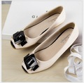 buckle shoes Patent Leather  flat shoes black gourd ladle Women flat shoes