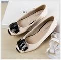 buckle shoes Patent Leather  flat shoes black gourd ladle Women flat shoes