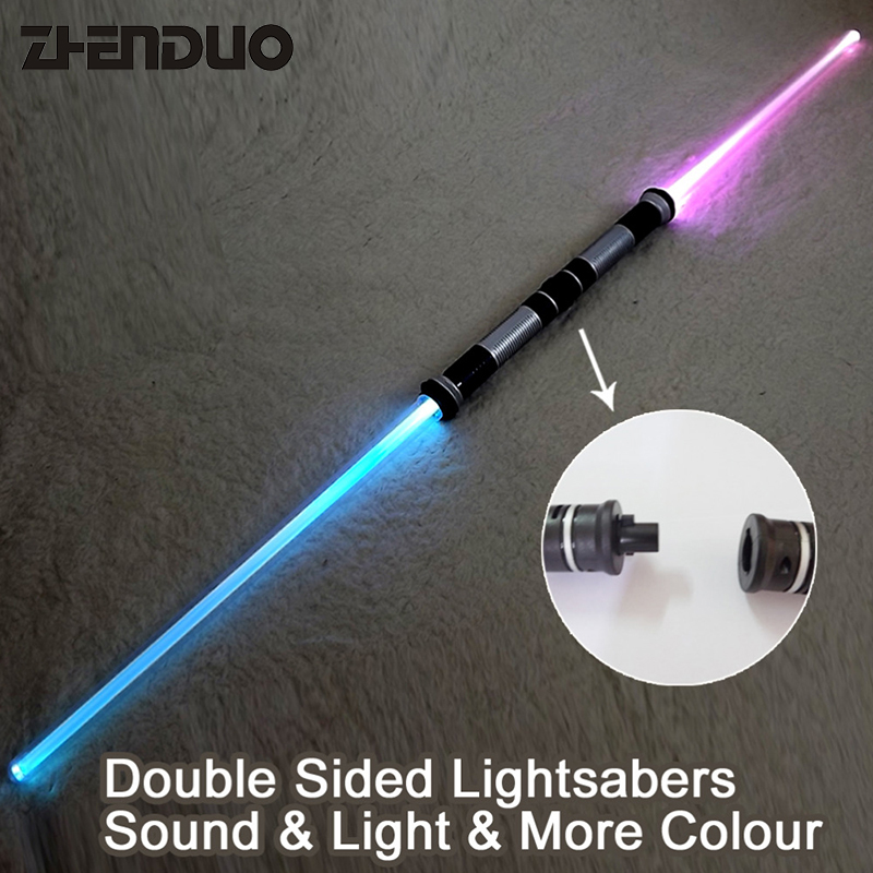 ZHENDUO TOY 2 pieces lightsaber double sided swords sabers with sound light for Performance Chlidren outdoor Toy Free Shipping