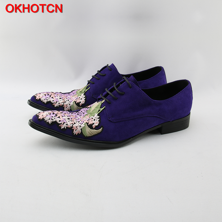 OKHOTCN Flower Embroider Blue Suede Shoes Men Lace Up Pointed Toe Men Leather Dress Shoes Plus Size Designer Wedding Party Shoes 2017 men s cow leather shoes patent leather dress office wedding party shoes basic style pointed toe lace up eu38 44 size