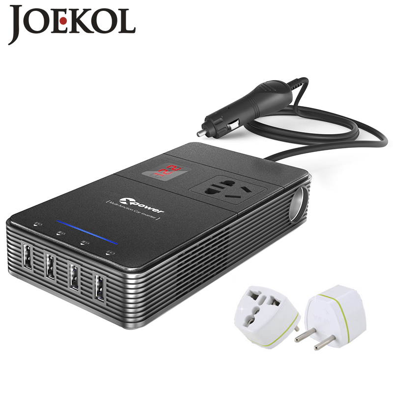 Multifunktions 250 Watt Wechselrichter DC 12 V AC 230 V Auto-konverter Mit 4-Port USB-Lade Ports Auto Power Inverter Adapter image