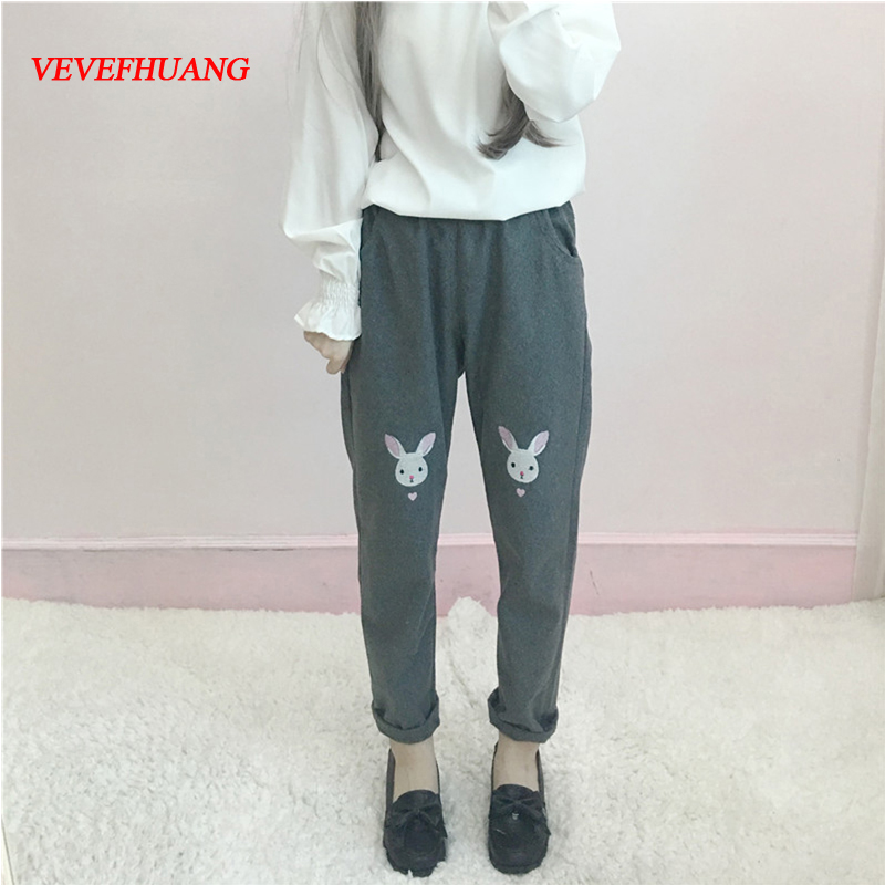 Autumn And Winter Women's Wear Day Of Soft Sister Cartoon Embroidery Leisure Pants Ulzzang Show Thin 9 Trousers Tide