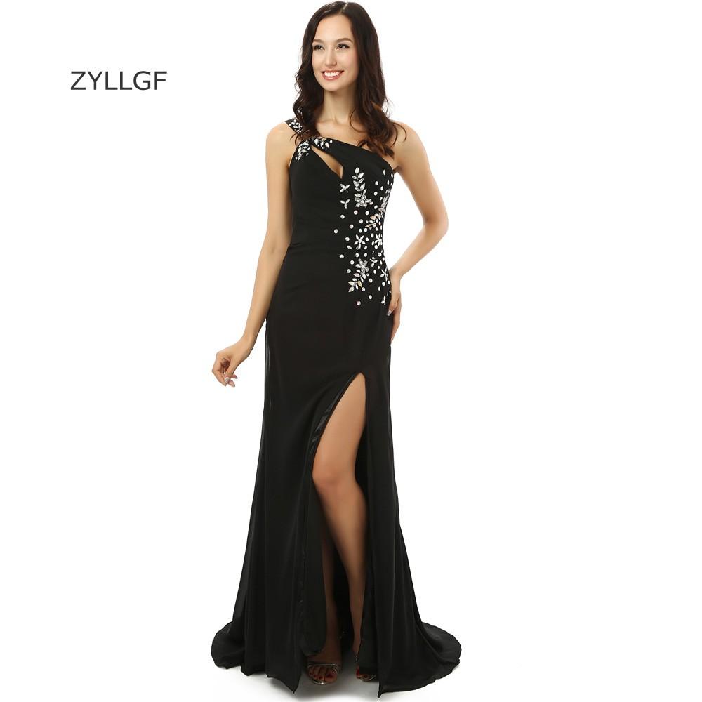 ZYLLGF Largo Negro Vestidos de Baile de Un Hombro Vestidos De ...