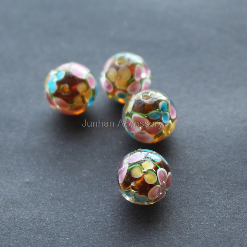 10Pcs 14mm Handmade Fine Glass lampwork beads Flower Beads Brown color for jewelry Wholesale and Retail