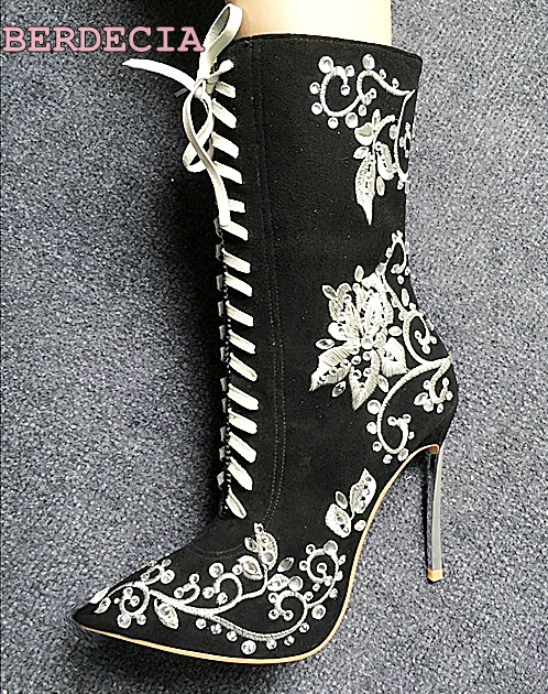 New fashion satin surface embroidered white flower mid-calf boots lace up suede stiletto metal boots pointed toe black shoes double buckle cross straps mid calf boots