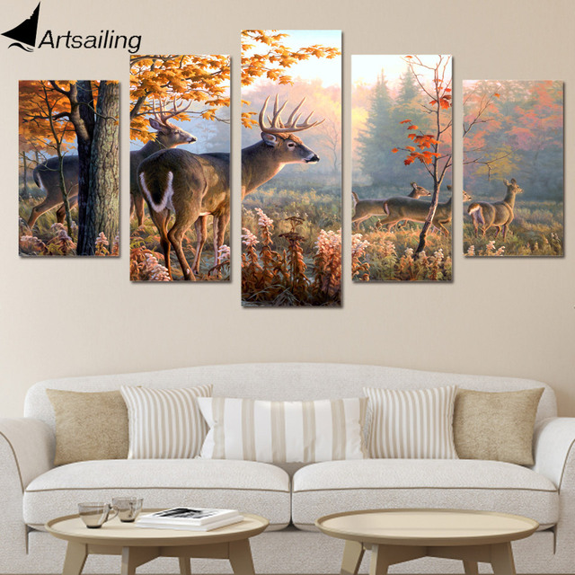 Hd printed canvas painting deer forest picture 5 piece canvas art home decor poster print wall